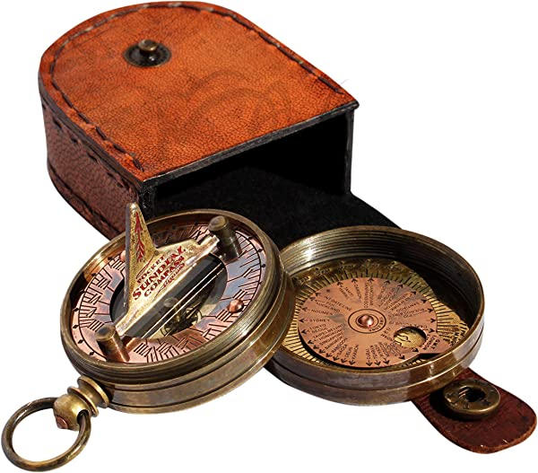 MAH Pocket Sundial Compass Both Side Handwork On The Bird With Stamped Leather Case C 3170