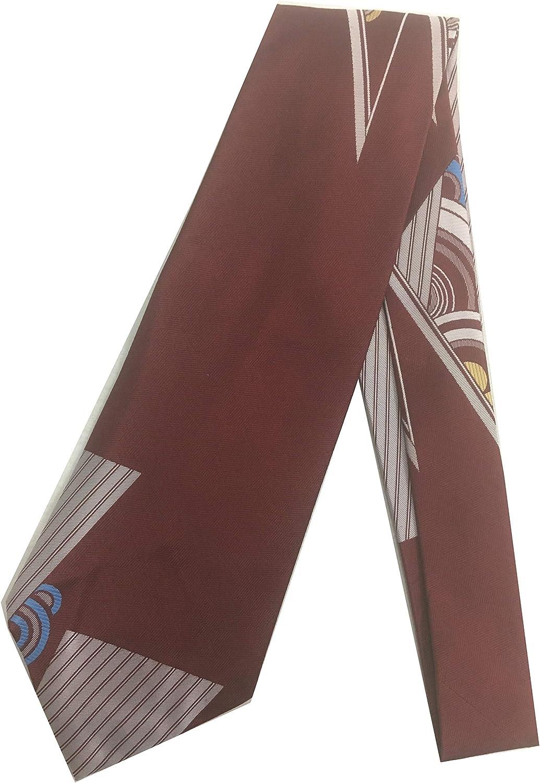 Sacred Geometry Vintage Tie - Jacquard Weave Wide Kipper Necktie Burgundy G