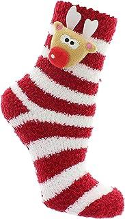 MIK funshopping, MIK Funshopping - Calcetines de invierno para mujer, con puntos antideslizantes (40/41, diseño de renos rojo y blanco a rayas)