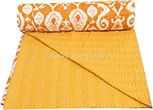 Stylo Culture Cotton Ethnic Kantha Throw Bedspread Twin Size Quilt Blanket Mustard Yellow Ikat Print Hand Stitched Embroidered Traditional Quilt Coverlet 228x152 cm