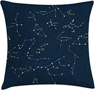 Ambesonne Constellation Throw Pillow Cushion Cover, Sky Map Andromeda Lacerta Cygnus Lyra Hercules Draco Bootes Lynx, Decorative Square Accent Pillow Case, 18