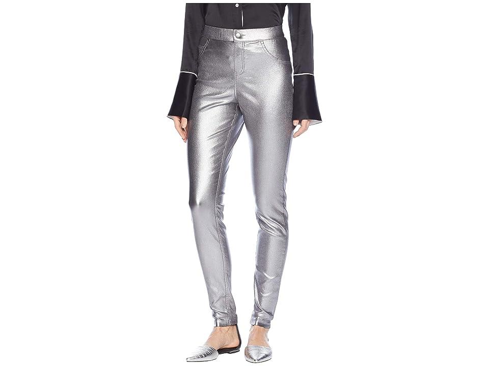 HUE Iridescent Metallic Denim Leggings (Gunmetal) Women