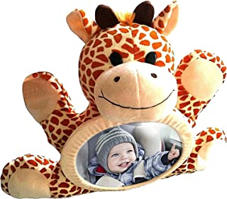 Baby Car Mirror - One Of The Best Car Mirrors, Plush Animal Toy Girrafe , Shatterproof, Watch Infant In Back Seat While Driving