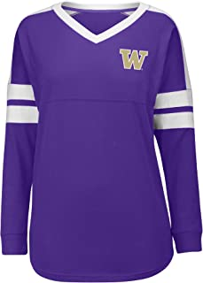 J America NCAA Washington Huskies Women's Gotta Have It Cheer Tee, Small, Purple/White