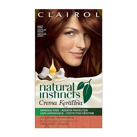 Clairol Natural Instincts Crema Keratina Hair Color Kit, 5BZ Chocolate Crème, Clairol Natural Instincts Hair Color, Semi-Permanent Hair Dye