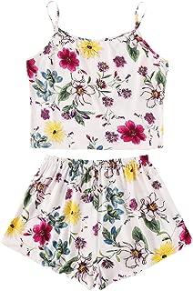 Women's Summer Floral Print Cami Top and Shorts Pajamas Set