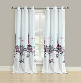 HowPlum 2 Window Curtains Drapes Grommet 84-in. Panel Pair Eiffel Tower French Grey Pink