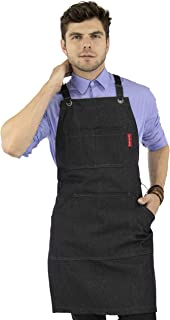 Under NY Sky Essential Black Denim Apron – Cross-Back with Leather Reinforcement – Adjustable for Men and Women – Pro Chef, Tattoo Artist, Baker, Barista, Bartender, Server Aprons