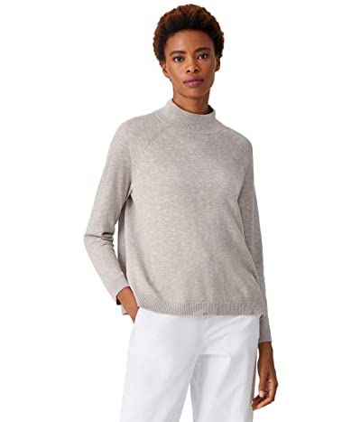 Eileen Fisher Organic Cotton Linen Slub Funnel Neck Top (Silver) Women