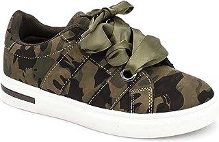 1b1bf6642c0120 DoubleTree Basket Femme Ruban Lacet Satin - Chaussures Mode de Sport PU Cuir  - Tennis Plateforme