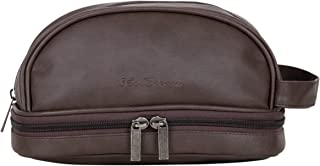 Ben Sherman Chingford Collection Faux Leather Travel Kit / Toiletry Bag / Dopp Kit With Water-Proof Drop Bottom Compartment