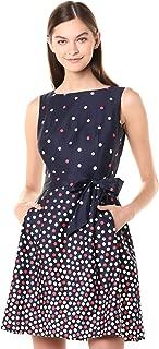 Anne Klein Womens 10730940-0LL Cotton Fit & FlareDress Sleeveless Dress - Blue
