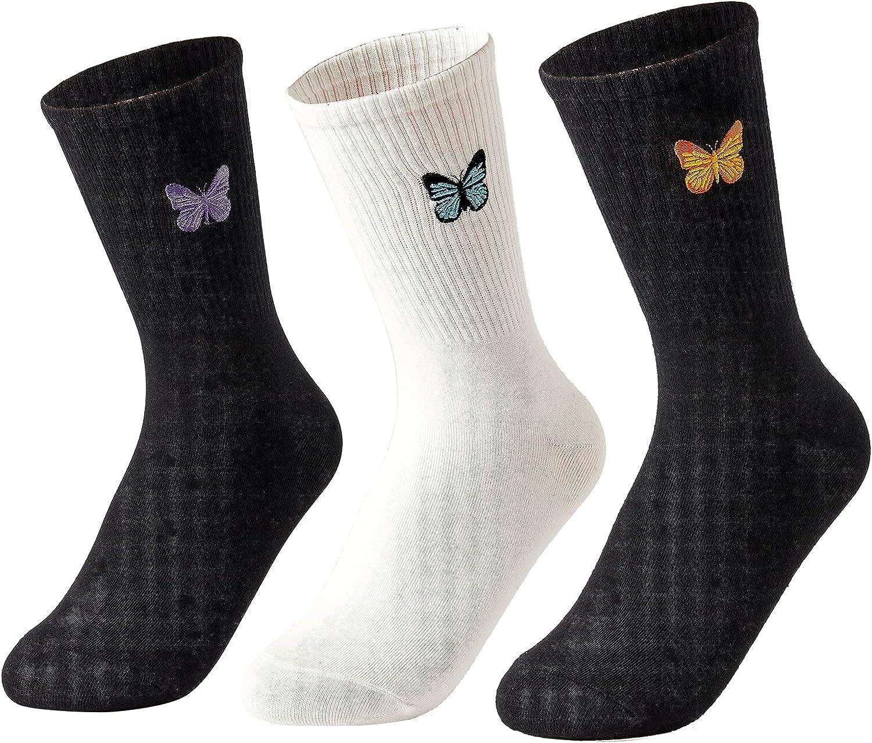 Womens High Ankle Socks Crew Socks Casual Knit Dress Socks Cute Embroidery Socks Soft Solid Color Sock 3 Pairs Kimkshine
