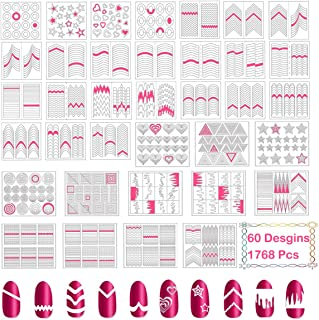 TailaiMei 1768 Pieces 60 Designs Nail Stencils French Tip Guides, Nail Art Stickers Form Fringe Guides Vinyl, 36 Sheets