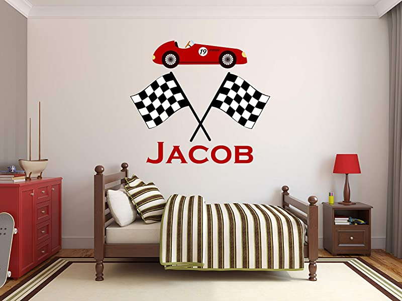 Personalized Racing Name Wall Decal Car Room Decor Nursery Wall Decals Racing Flags Wall Decor Art Bedroom Vinyl Sticker 34 X 32