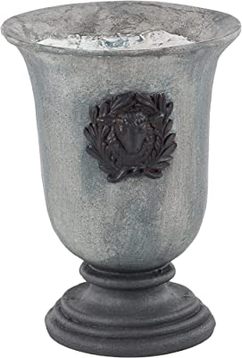 """Deco 79 36868 Traditional Cup Planter with Goat Head Crest, 10"""" W x 14"""" H, Gray"""