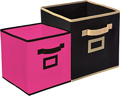 Heart Home Non Woven 2 Pieces Small & Large Foldable Storage Organiser Cubes/Boxes (Black & Pink) - CTHH17029