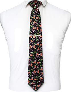 JEMYGINS Christmas Ties for Men Novelty Holiday Printed Necktie and Tie Clip Sets