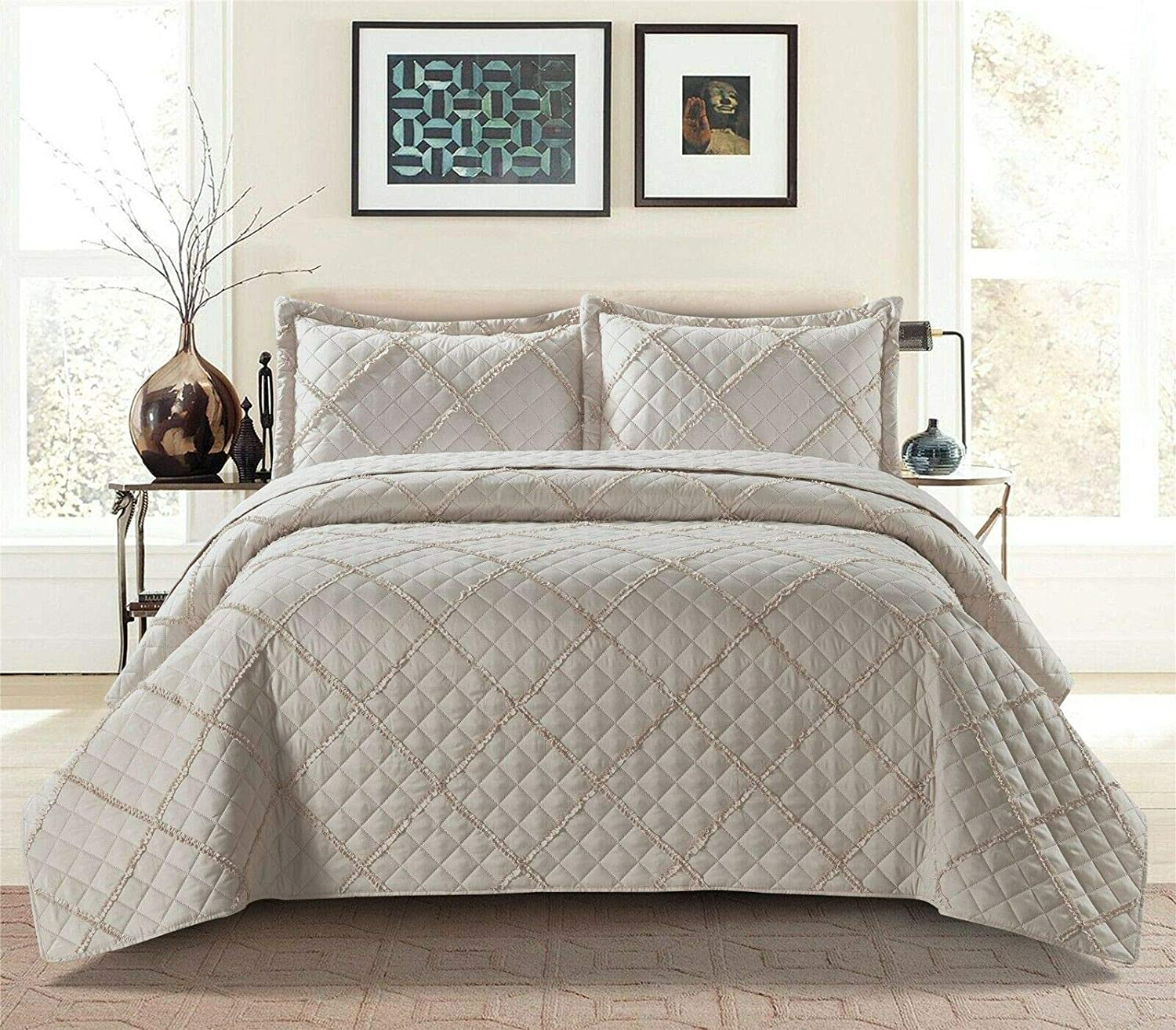 Prime Linens 3Pcs RAFFLE Bedspread Quilted Embossed Bed Throw and 2 pillow case In White, Double