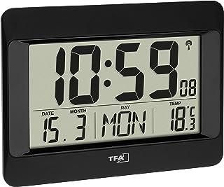 TFA Dostmann Reloj de Pared Digital, 60.4519.01, Radio Reloj con Temperatura Interior, día de la Semana (8 Idiomas), Fech...