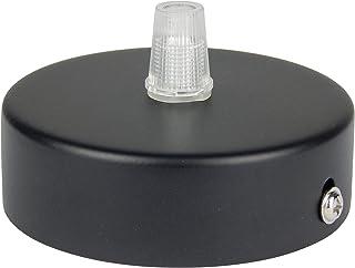 Florón negro | embellecedor para lámpara de techo, suspensor estándar tamaño m10, 80x25 mm | embellecedor para lámpara de techo | incl. pasacables/prisionero para fácil montaje | Buchenbusch Urban Design (1 unidad)