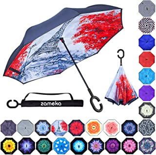 Z ZAMEKA Double Layer Inverted Umbrellas Reverse Folding Umbrella Windproof UV Protection Big Straight Umbrella Inside Out Upside Down for Car Rain Outdoor with C-Shaped Handle, AA Eiffel Tower