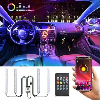 Auto LED Innenbeleuchtung,KIPIDA RGB Auto LED Innenbeleuchtung mit APP,Auto LED Fußraumbeleuchtung Auto Innenraum Strip,Atmosphäre Licht mit USB Port Drahtlose Fernsteuerung,Musik & Sprachsteuerung