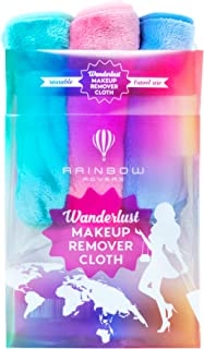 RAINBOW ROVERS Set of 3 Makeup Remover Wipes | Reusable & Ultra-fine Makeup Wipes | Suitable for All Skin Types | Removes Makeup with Water | Free Bonus Waterproof Travel Bag | Multiple Colours