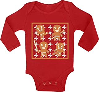 Awkward Styles Ugly Xmas Baby Outfit Bodysuit Gingerbread Ninja Christmas Pattern Baby Romper