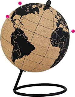 Cork Globe with Push Pins - 5.7 Inches Desktop World Globe - Educational World Map - Durable Metal Base - Easy Spin - Travel Accessory - Home Office Decor - Geographic Globes Discovery The World