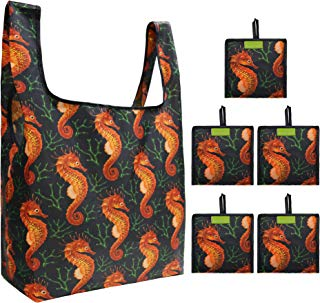 Black Grocery Bags Reusable Foldable 5 Pack Large Capacity Can Hold 50Lbs Cute Seahorse Pattern Reusable Tote Bags Easily Folding into Attached Pouch, Animal Reusable Bags for Shopping,Groceries,Trip