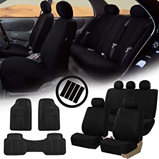 FH Group FB030115 Light & Breezy Cloth Seat Covers, Airbag & Split Ready Solid Black Combo Set: Steering Wheel Cover, Seat Belt Pads and F11306 Vinyl Floor Mats-Fit Most Car, Truck, SUV, or Van