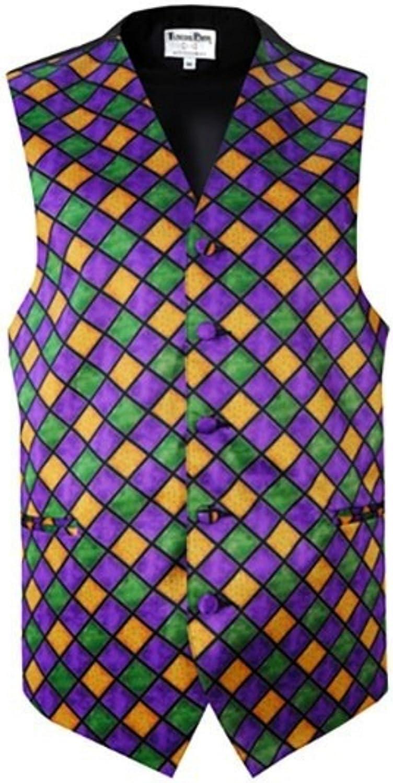 Mardi Gras Diamonds Tuxedo Vest and Pre-Tied Bow Tie Size Medium Long
