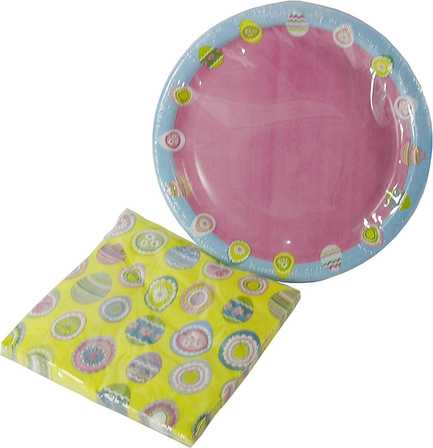 Easter Pink Yellow & Pastel bluee Decorated Easter Egg Paper Plates & Napkins Set 36 Pieces