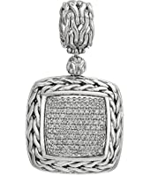 John Hardy - Classic Chain Diamond Pave Medium Square Pendant Necklace