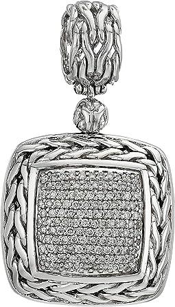 Classic Chain Diamond Pave Medium Square Pendant Necklace