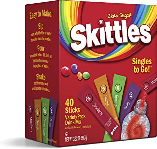 The Jel Sert Company Skittles Singles To GoVariety Pack40Count Powdered Drink MixZero Sugar and Low Calorie Includes 4 Fla...