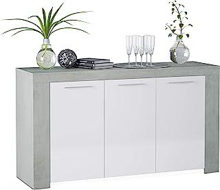 Habitdesign 016620L - Aparador Comedor Moderno Buffet salón Color Blanco Artik y Gris Cemento Ambit