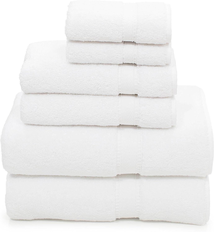 Linum Home Textiles 6 Piece 100% Turkish Cotton Sinemis Terry Bath Towel Set, White