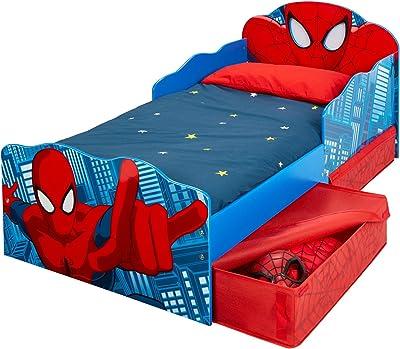 Hello Home Spider-Man Lit pour Garçons avec Yeux Lumineux et Rangement sous le Lit