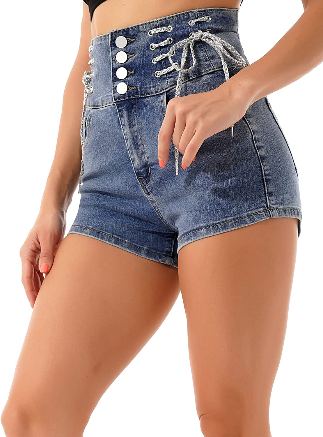 Freebily Women's High Waist Lace-Up Denim Shorts Slim Fit Jeans Sexy Back Hollow Out Hot Pants
