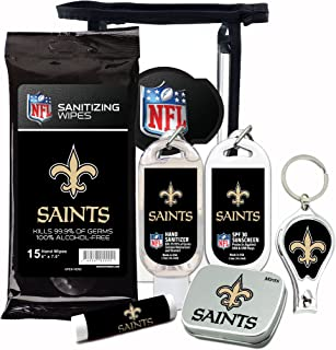 New Orleans Saints 6-Piece Fan Kit with Decorative Mint Tin, Nail Clippers, Hand Sanitizer, SPF 15 Lip Balm, SPF 30 Sunscreen, Sanitizer Wipes. NFL Football Gifts for Men and Women