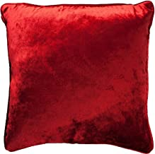 McAlister Textiles Shiny Velvet Pillow Case | Wine Dark Red Crushed Metallic Look Decorative Throw Scatter Sofa Cushion Sham | Size - 16 x 16 Inches