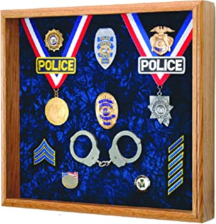 "Law Enforcement Memorabilia Shadow Box Display - 20""x18""x3"" Police, Sheriff, DEA, FBI, CHP, Firefighter"