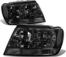 For 99-04 Jeep Grand Cherokee WJ Pair of Smoke Lens Clear Corner Headlights/Lamps