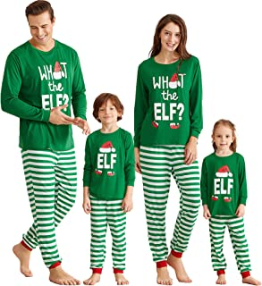 Yaffi Matching Family Pajamas Sets Christmas PJ's with ELF Printing Long Sleeve Tee and Striped Pants Loungewear Sleepwear