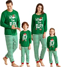 Yaffi Matching Family Pajamas Sets Christmas PJ's with ELF Printing Long Sleeve Tee and Striped Pants Loungewear Sleepwear