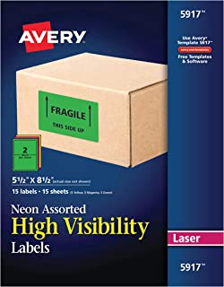 Avery Permanent Neon Rectangular Labels for Laser Printers, 5-1/2-Inch x 8-1/2-Inch labels, 8-1/2-Inch x 11-Inch sheets, Assorted , 30 Permanent labels per package (5917)