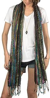 Women Soft Shimmer Sparkle Scarf Colorful Boho Hippie Tassel Wrap Fringe Summer