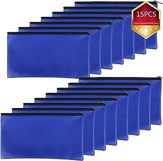 Xgood 15 Pieces Bank Deposit Money Bag Leatherette Securit Vinyl Blue Zipper Pouches Wallet Utility Zipper Coin Bags for Cash Money,11x6in